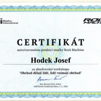 Certifikát Rock Machine